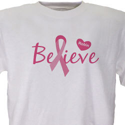 Personalized Believe Breast Cancer Awareness T-shirt