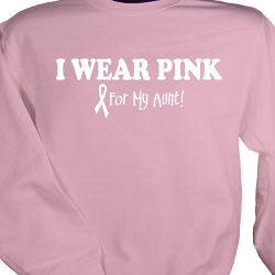 Personalized Pink Breast Cancer Awareness I Wear Pink Sweatshirt