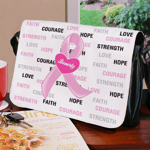Personalized Breast Cancer Awareness Hope and Love Shoulder Bag