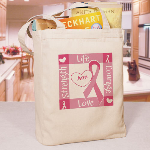Pink Ribbon and Heart Breast Cancer Awareness Tote Bag