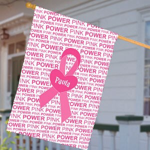 Personalized Breast Cancer Awareness House Flag With Pink Ribbon