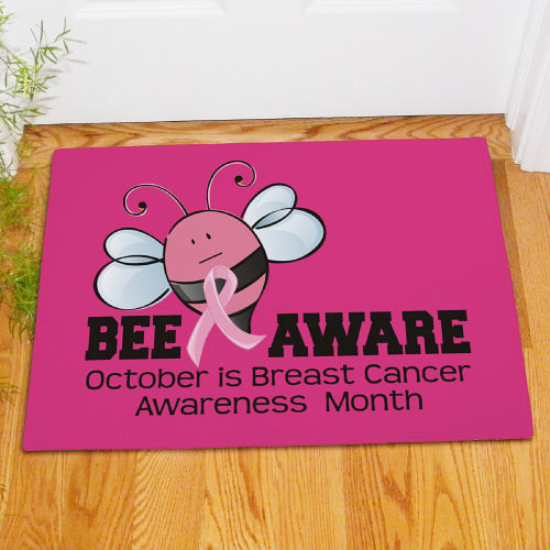 "Hot Pink Breast Cancer Awareness ""Bee Aware"" Doormat"