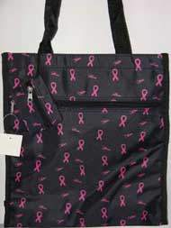 Black Tote Bag with Pink Ribbons & Coin Purse