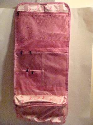 Large Folding Cosmetic Pouch - Pink with Pink Ribbons
