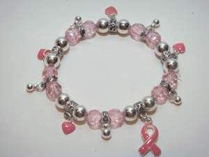 Breast Cancer Charm Bracelet w/Pink Ribbon & Tiny Hearts