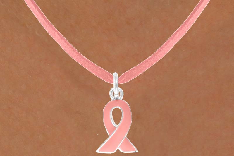Pink Suede Necklace with Pink Ribbon Charm