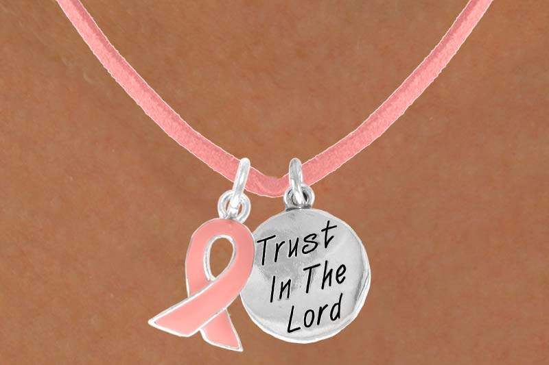 Trust in the Lord - Pink Suede Necklace