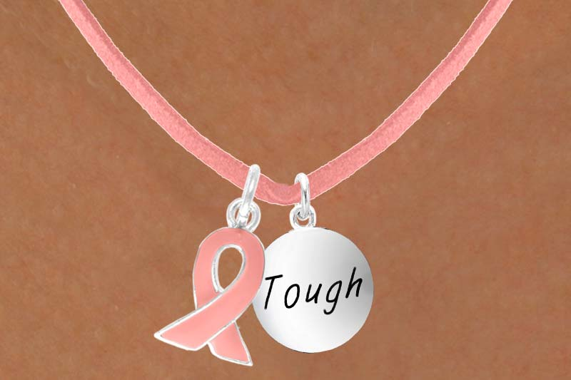 Tough Charm - Pink Suede Necklace with Pink Ribbon Charm