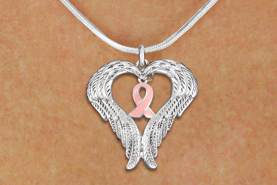 Pink Hope Ribbon with Guardian Angel Wings Necklace