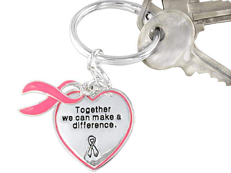 Together We Can Make A Difference Key Chain w/Heart & Ribbon