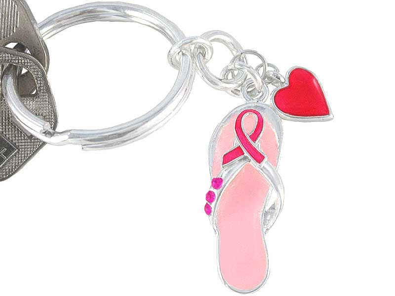 Breast Cancer Awareness Keychain w/Heart Charm and Crystals