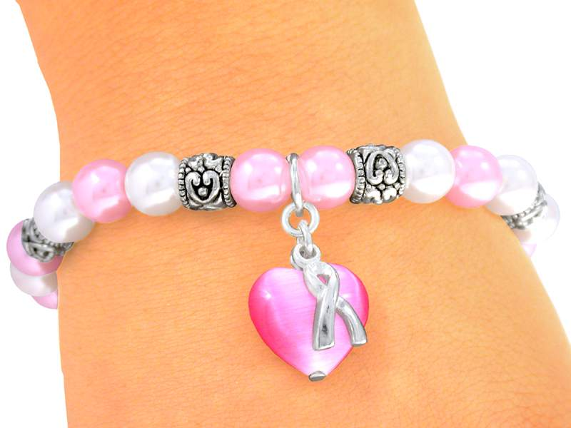 Soft Pin Faux Pearl Bracelet with Rose Heart and Silver Ribbon
