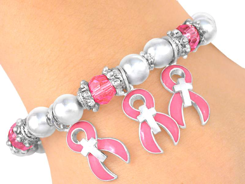 Stretch Bracelet with Awareness Ribbon and Cross