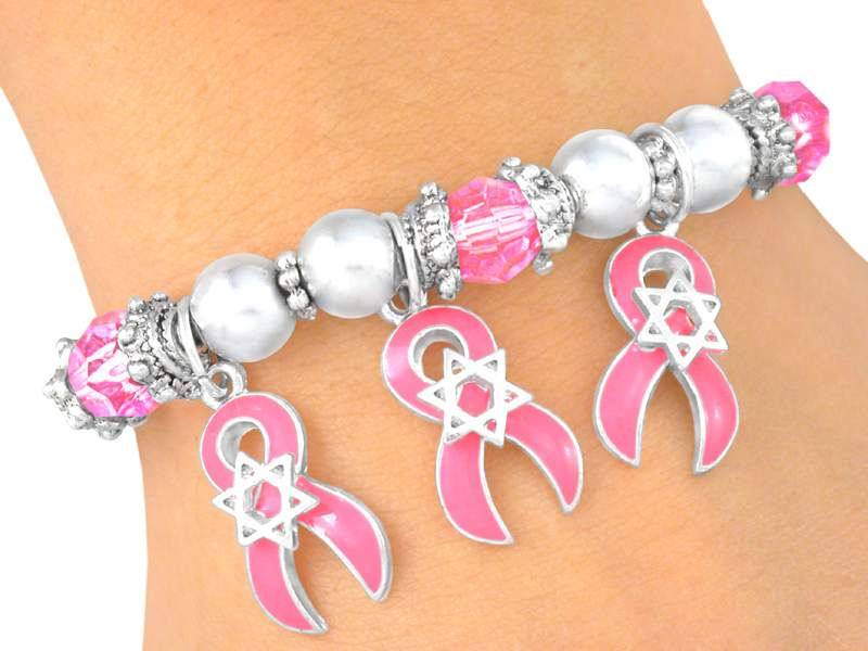 Stretch Bracelet with Awareness Ribbon and Star of David