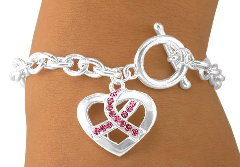 Toggle Bracelet w/Heart and Breast Cancer Awareness Ribbon