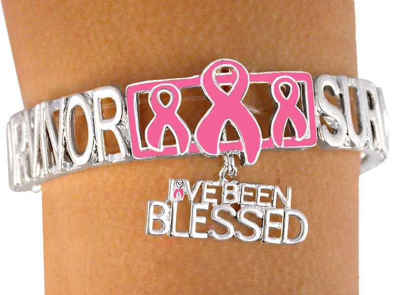 Breast Cancer Survivor Stretch Bracelet w/I've Been Blessed
