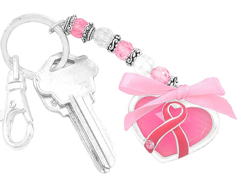 Key Chain with Lobster Clasp, Beads, Pink Ribbon & Charms