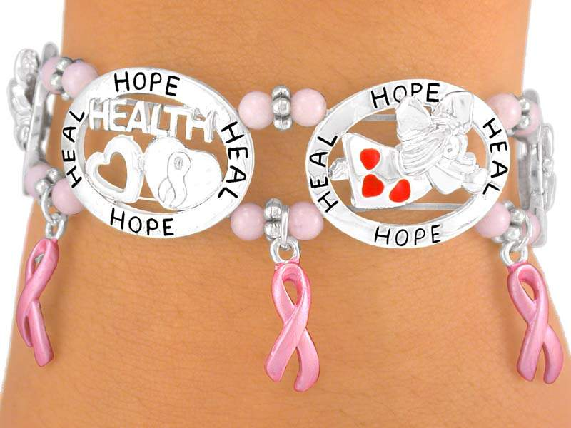 Silver Tone Ovals with Health, Hope and Angels, Pink Ribbons