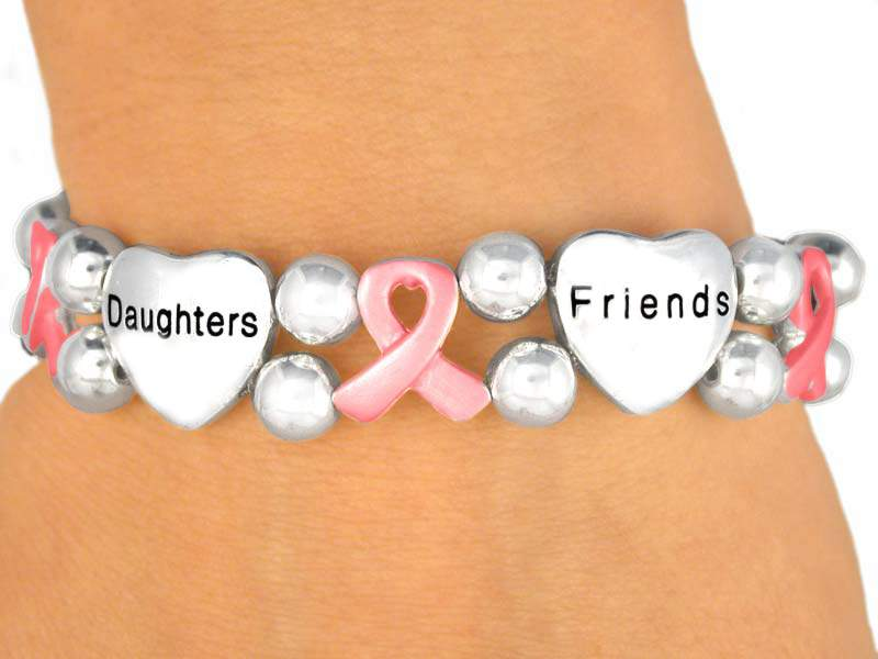 Unique Breast Cancer Silver Finish Bracelet w/Hearts & Ribbons