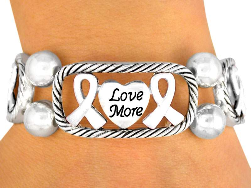 Silver Tone Stretch Bracelet w/Live, Laugh, Love, Faith