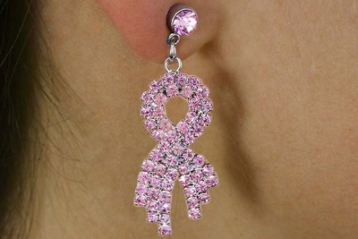 Pink Crystal Hope Ribbon Earrings