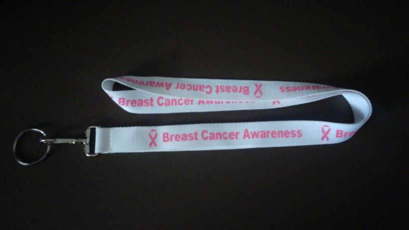 "34"" Breast Cancer Awareness Lanyard - White with Dark Pink"