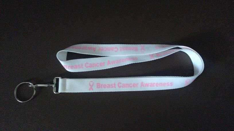 "34"" Breast Cancer Awareness Lanyard - White with Light Pink"