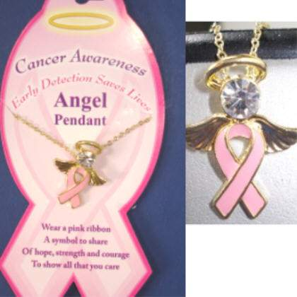 Breast Cancer Awareness Necklace with Angel