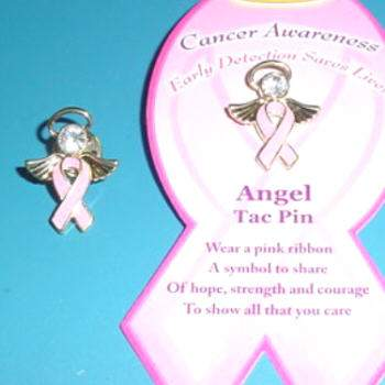 Breast Cancer Pink Ribbon Angel Tac Pin w/ Crystal Stone