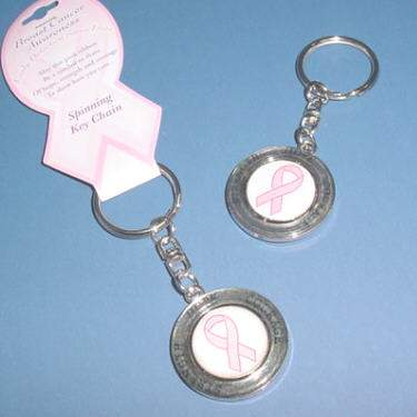 Spinning Pink Ribbon Keychain - Hope / Strength / Courage
