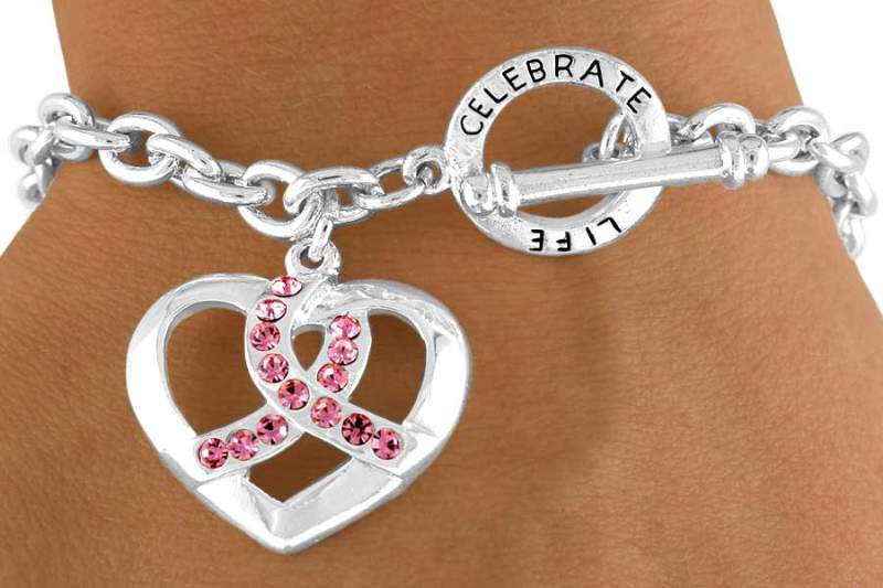 Pink Ribbon & Heart Breast Cancer Awareness Bracelet