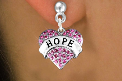 Breast Cancer Awareness Crystal Heart Hope Earrings - Click Image to Close