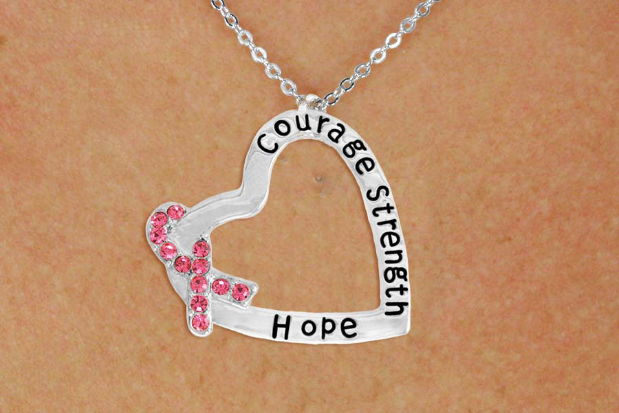 Courage Strength Hope Heart Necklace with Pink Austrian Crystal Awareness Ribbon