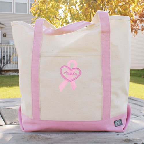 Breast Cancer Awareness Personalized Pink Canvas Tote Bag
