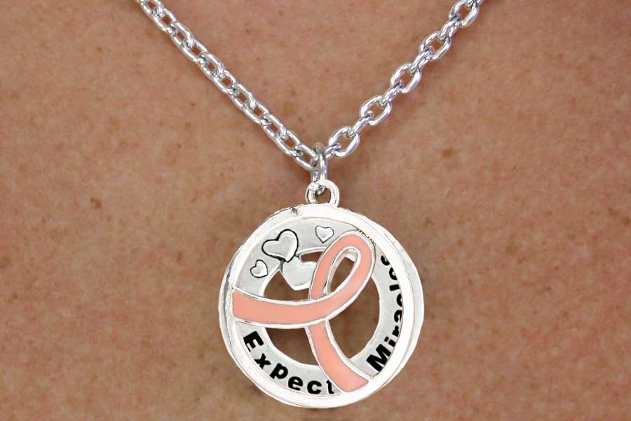 Expect Miracles with Pink Ribbon Charm Necklace and Earring Set