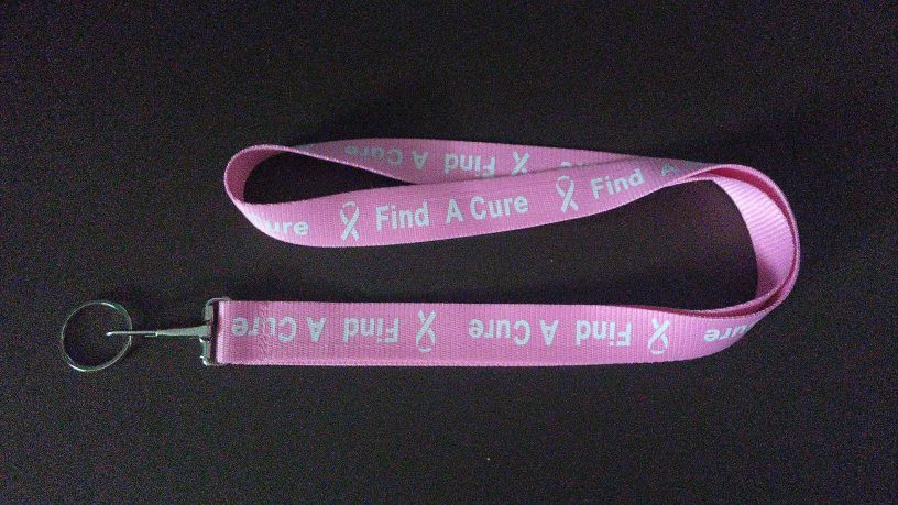 "34"" Find A Cure Lanyard w/Awareness Ribbons- Dark Pink"