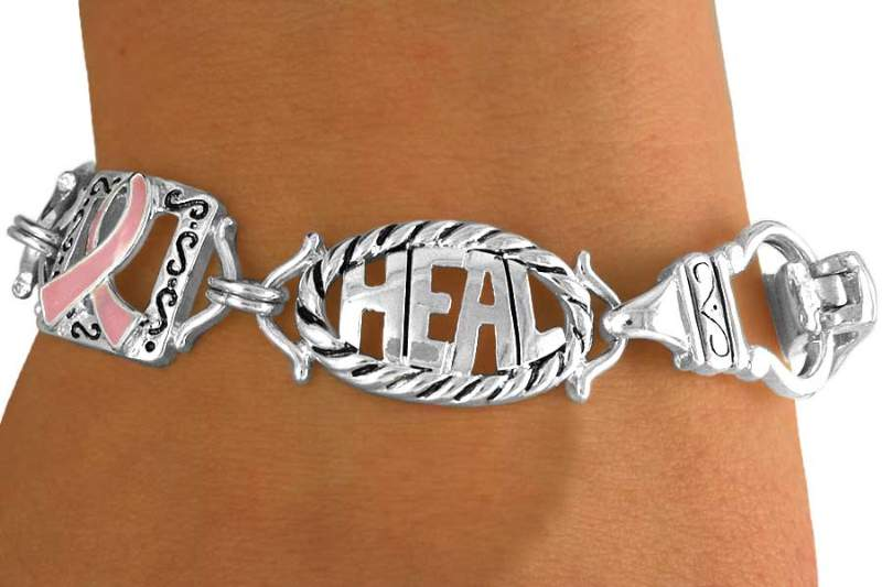 Health, Hope, Heal Breast Cancer Bracelet-Magnetic Clasp