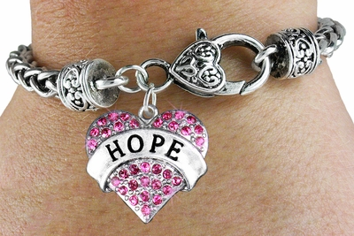 Hope Heart Charm with Fushia Crystals and Heart Clasp