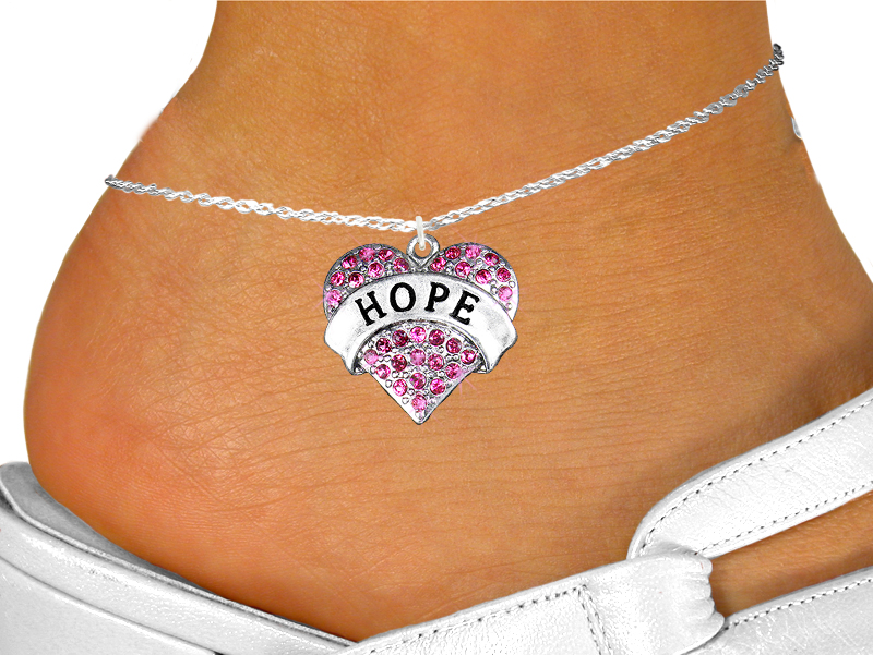 Hope Heart with Fuchsia Crystals Anklet