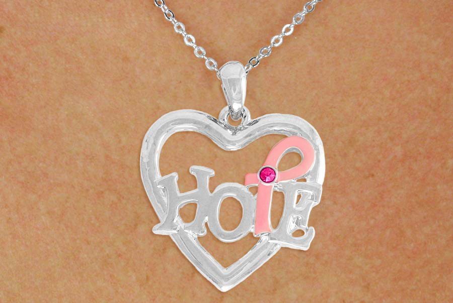 Hope Heart Shaped Pendant wih Awareness Ribbon Necklace
