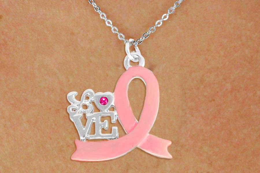 Love with Pink Awareness Ribbon Necklace