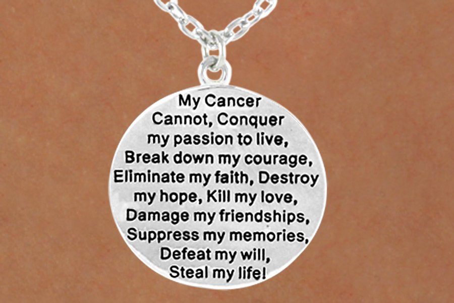 My Cancer Cannot with Awareness Ribbon Necklace