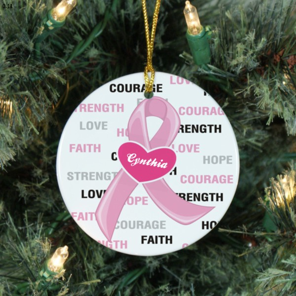 Round Ceramic Pink Ribbon Christmas Ornament