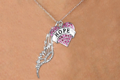 Pink Heart Hope Charm with Angel Wing Necklace
