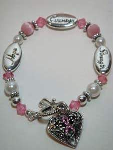 Breast Cancer Bracelet with Hope Caring Strength