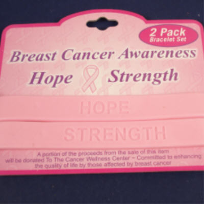 Breast Cancer Awareness Rubber Bracelets - Set of Two