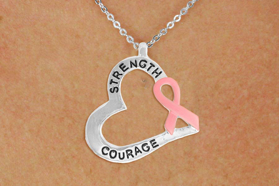 Strength and Courage Heart Shaped Pendant with Pink Awareness Ribbon