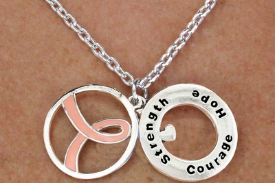 Strength Courage Hope Disc Necklace and Earring Set