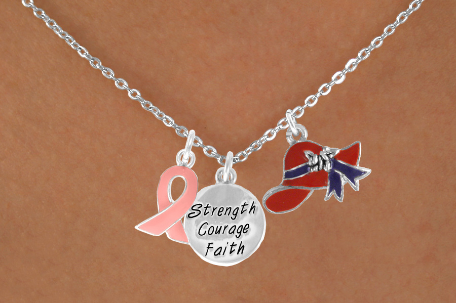 "Pink Ribbon Red Hat ""Strength Courage and Faith"" Charm Necklace"