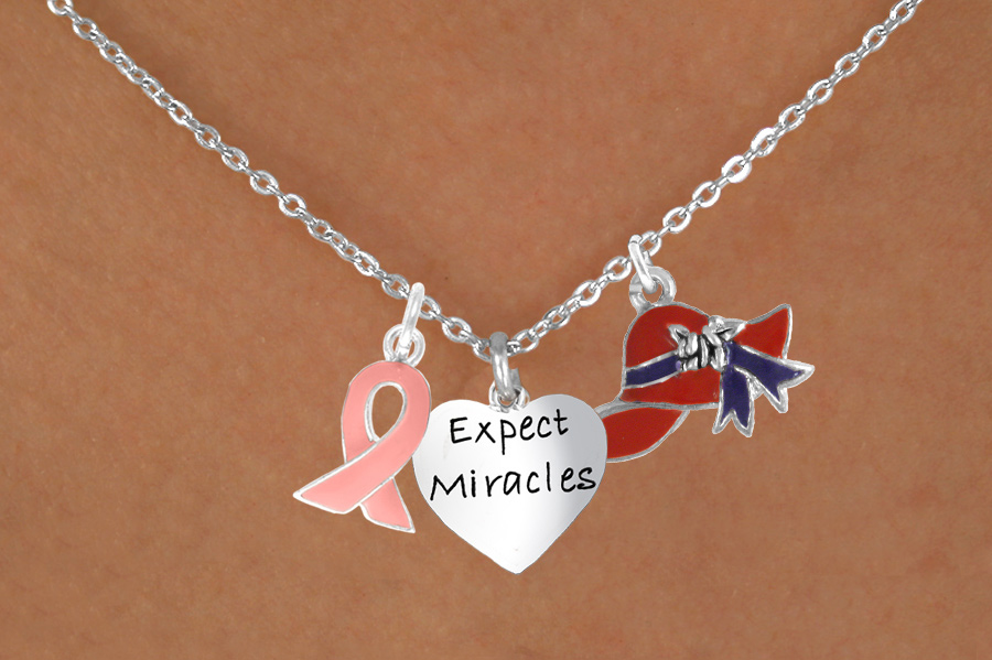 "Pink Awareness Ribbon, Red Hat, ""Expect Miracles"" Charm Necklace"